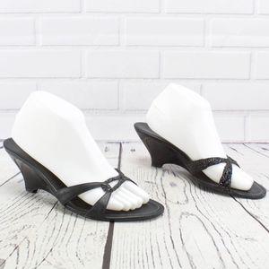 Cole Haan Kitten Heel Wedge Sandal Size 9 Black